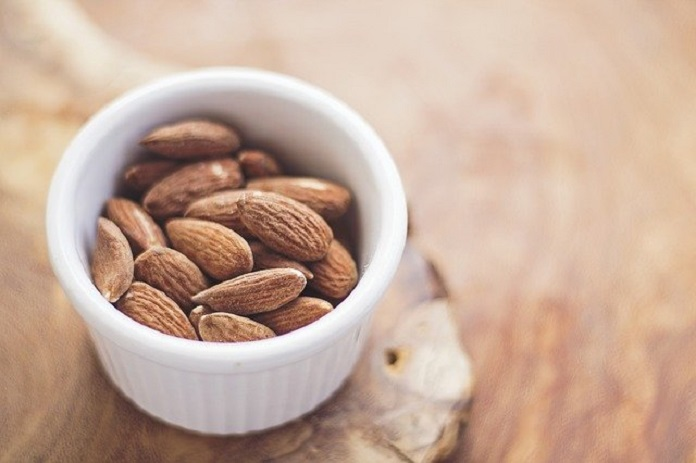 snacking on almonds