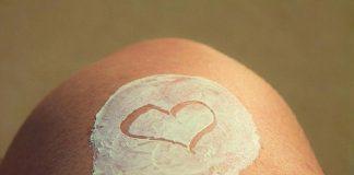 white sunscreen on skin